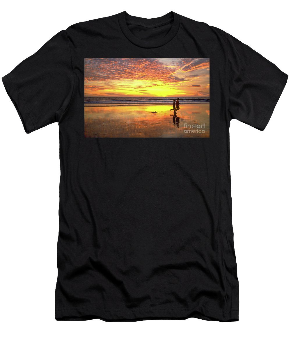 Sunset Men's T-Shirt (Athletic Fit) featuring the photograph Sunset Ocean Runners by David Zanzinger