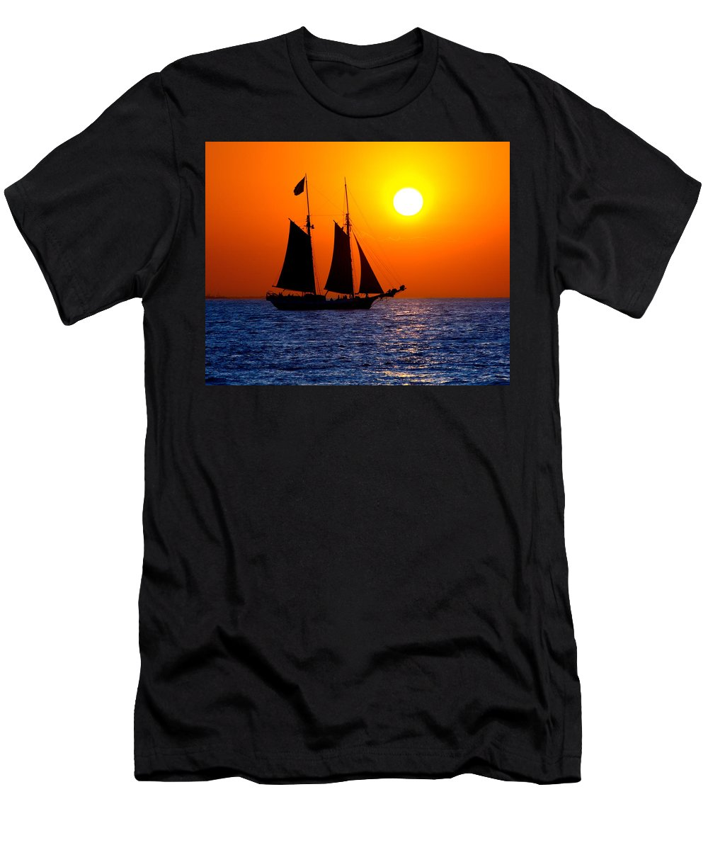 Yellow Men's T-Shirt (Athletic Fit) featuring the photograph Sunset Sailing In Key West Florida by Michael Bessler