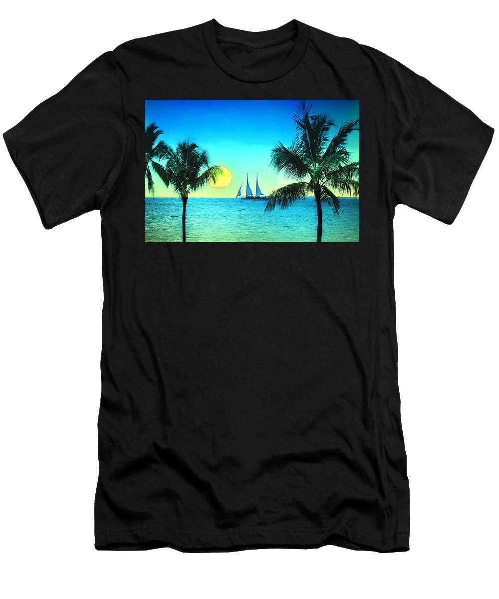 Sailboat Men's T-Shirt (Athletic Fit) featuring the photograph Sunset Sailor by Bill Cannon