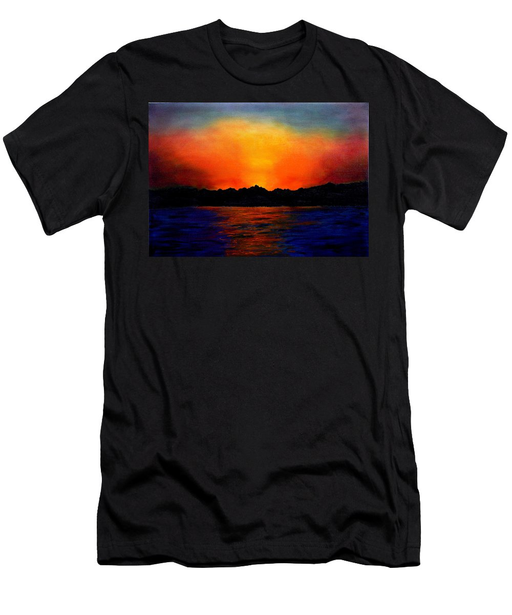 Sinai Sunset Men's T-Shirt (Athletic Fit) featuring the painting Sunset Sinai by Helmut Rottler