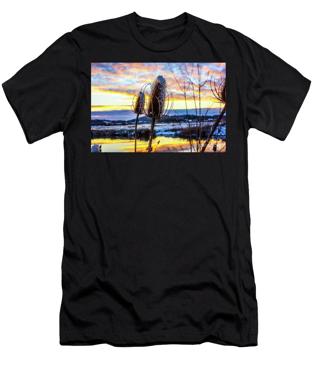 Men's T-Shirt (Athletic Fit) featuring the photograph Sunset Snow by Michael Cross