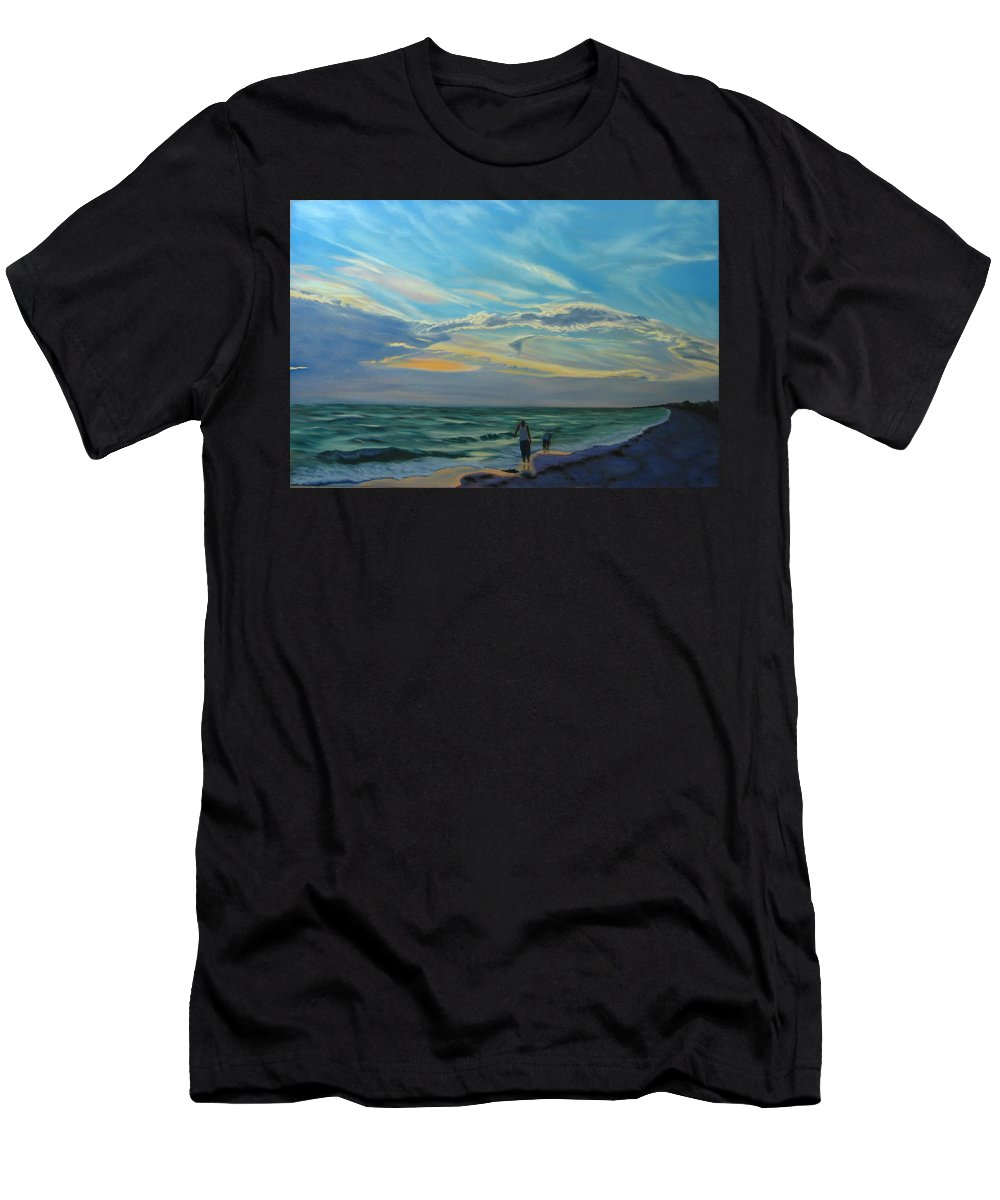 Seascape Men's T-Shirt (Athletic Fit) featuring the painting Sunset Treasure Hunt by Lea Novak