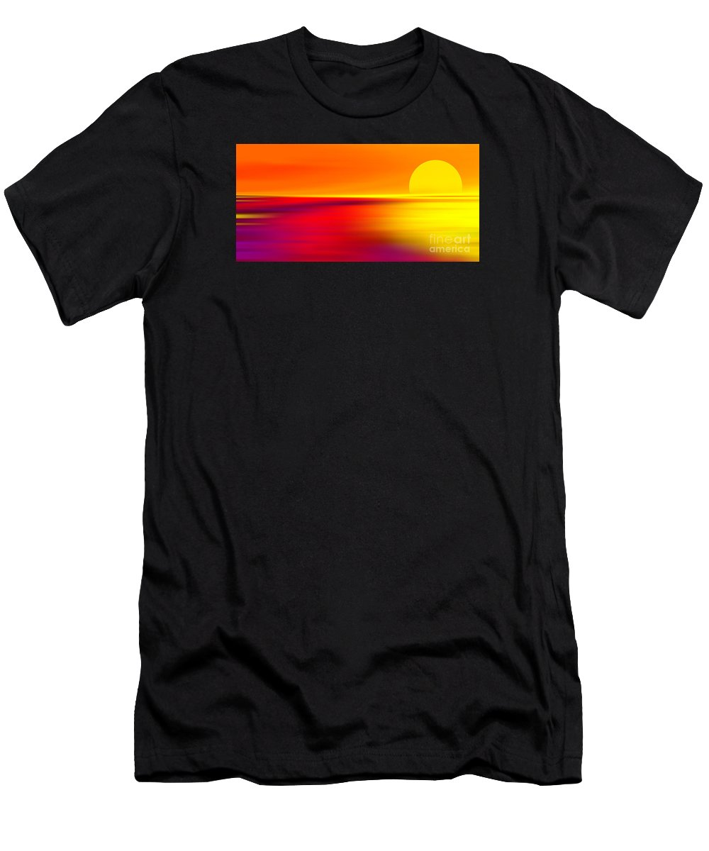 Abstract Men's T-Shirt (Athletic Fit) featuring the digital art Sunset by Violetta Honkisz