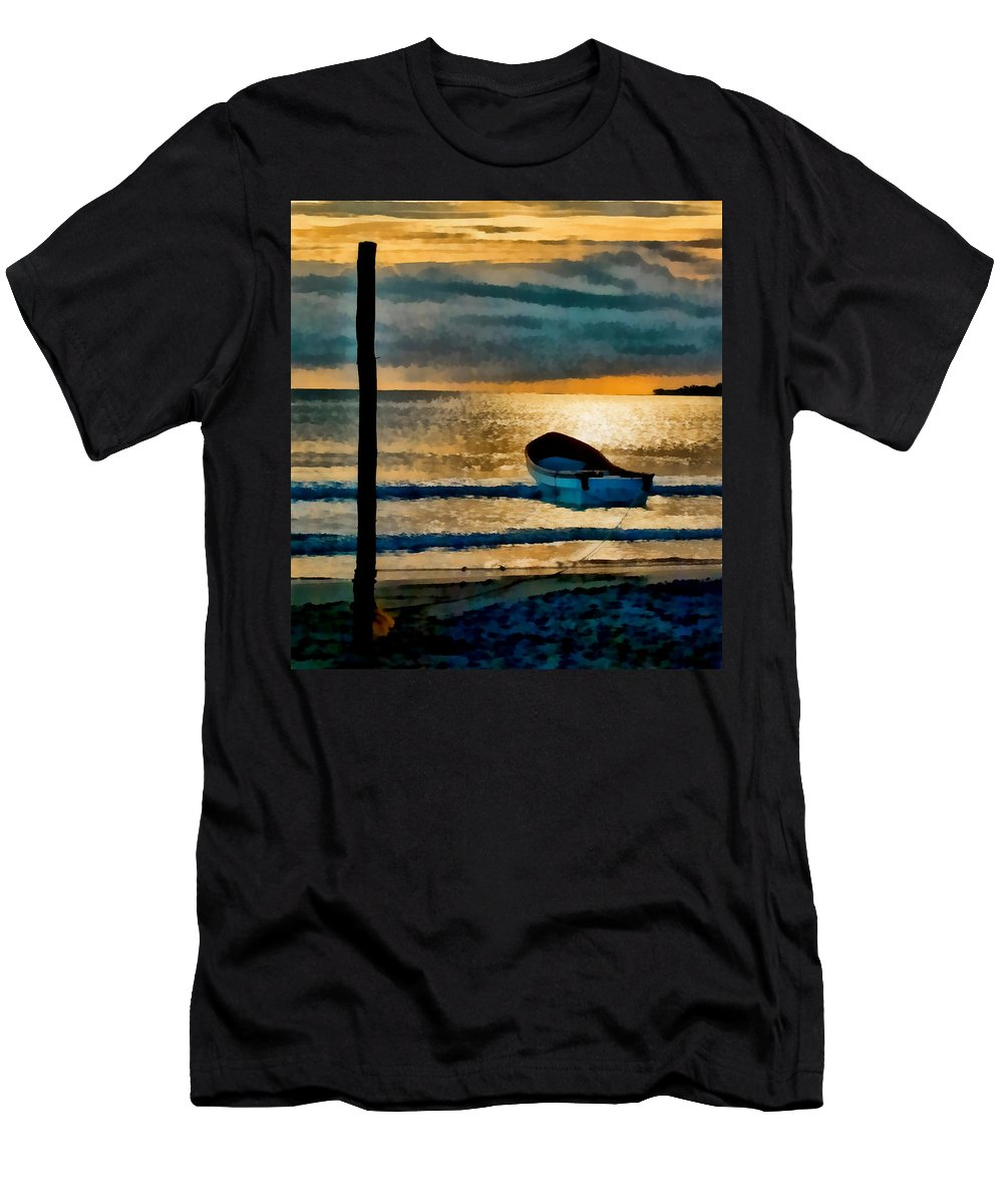 Sunset Men's T-Shirt (Athletic Fit) featuring the photograph Sunset With Boat by Galeria Trompiz