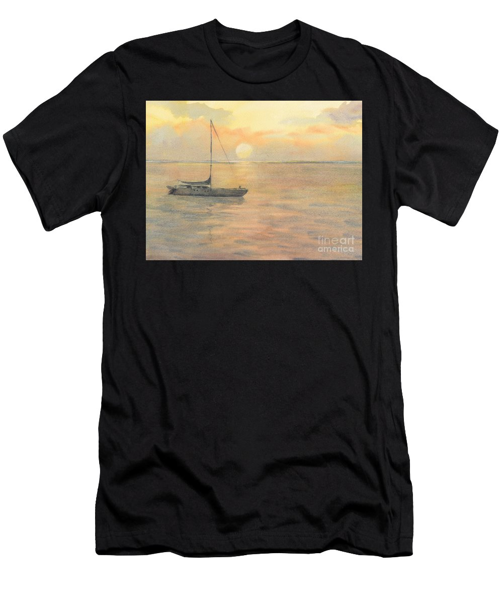 Sunset T-Shirt featuring the painting Sunset by Yohana Knobloch