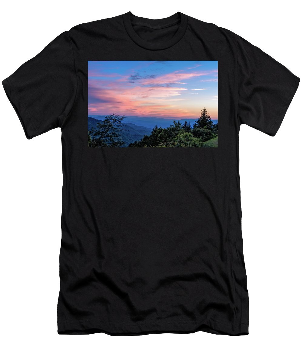 Blue Ride Parkway Men's T-Shirt (Athletic Fit) featuring the photograph Sunset's Blue Hour by Barbara Hayton