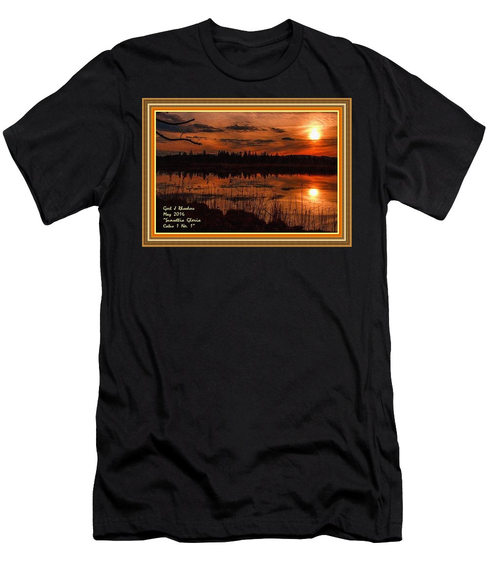 Rural Men's T-Shirt (Athletic Fit) featuring the painting Sunsettia Gloria Catus 1 No. 1 L A. With Decorative Ornate Printed Frame. by Gert J Rheeders