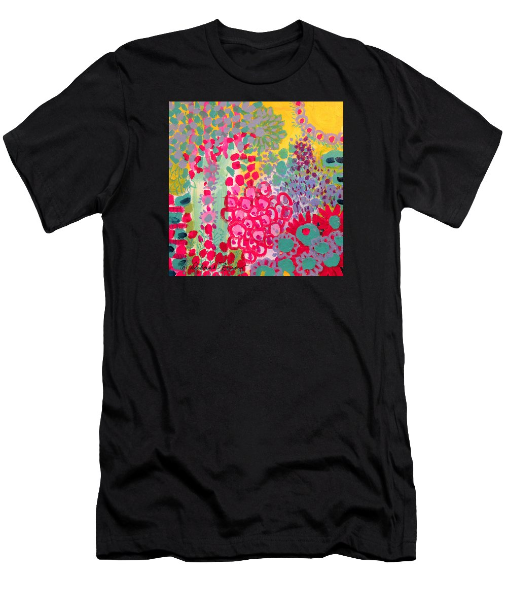 Abstract Garden Of Red Men's T-Shirt (Athletic Fit) featuring the painting Sunshine Garden by Deborah Burow