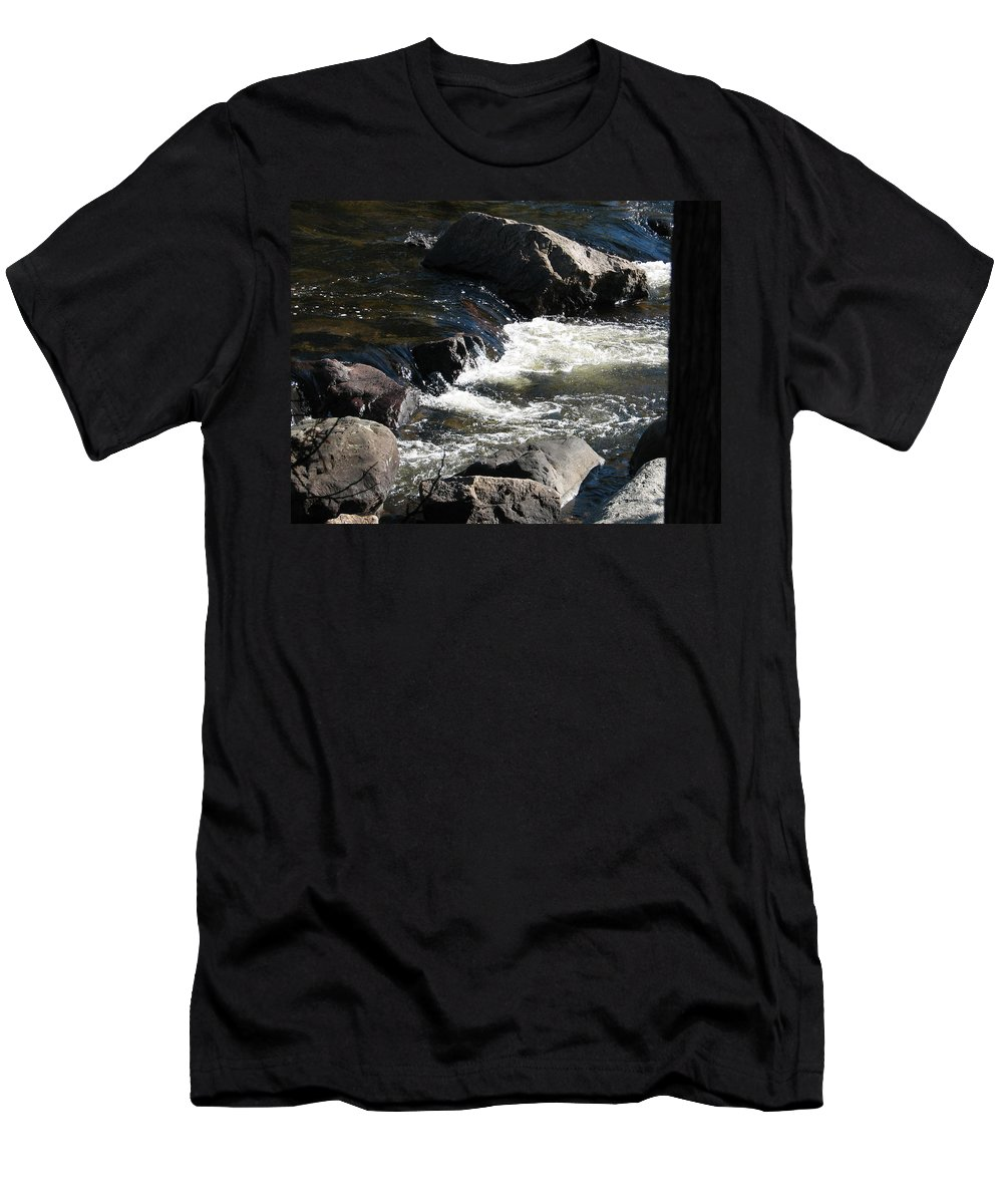 Waterfall Men's T-Shirt (Athletic Fit) featuring the photograph Sunshine On The Fall by Kelly Mezzapelle