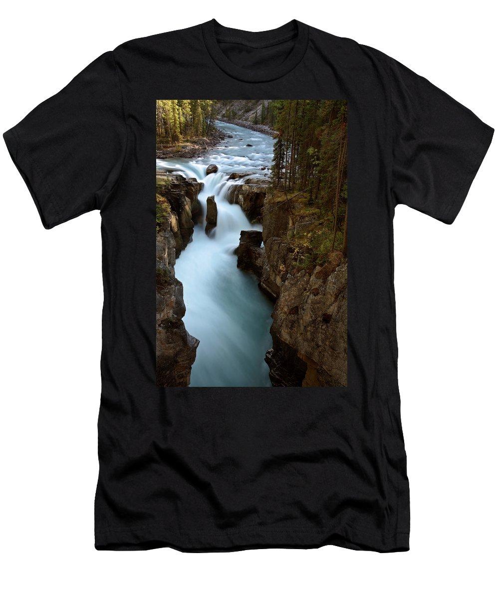 Gorge Men's T-Shirt (Athletic Fit) featuring the digital art Sunwapta Falls In Jasper National Park by Mark Duffy