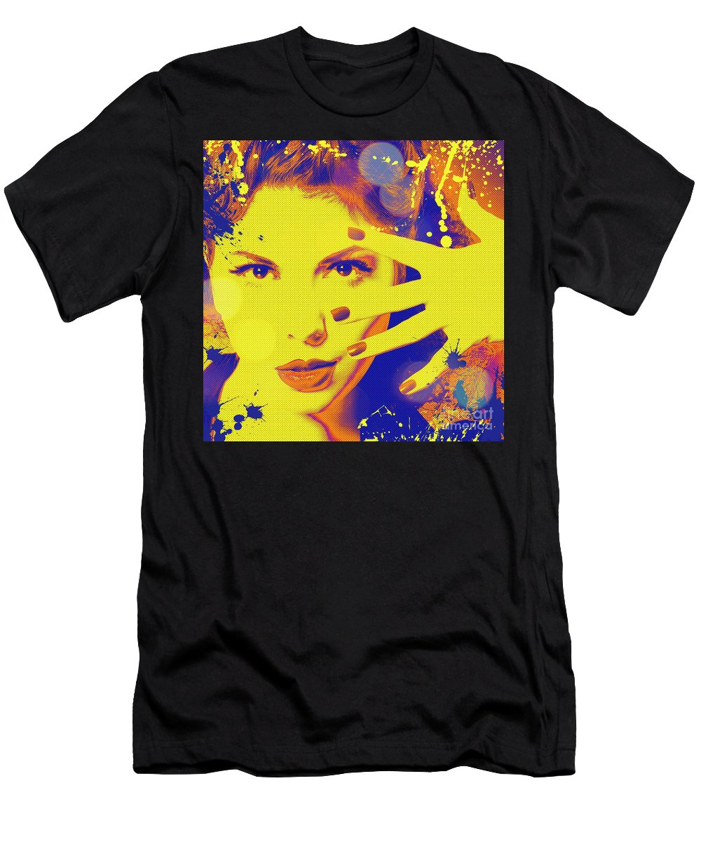 Makeup Men's T-Shirt (Athletic Fit) featuring the digital art Super-girl. by Refat Mamutov