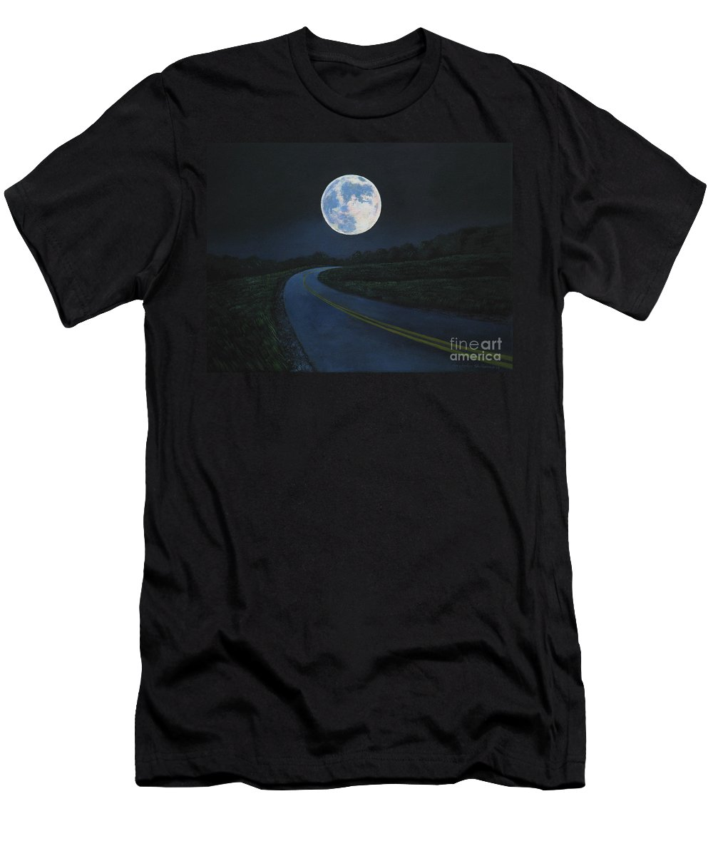 Super Moon Men's T-Shirt (Athletic Fit) featuring the painting Super Moon At The End Of The Road by Christopher Shellhammer