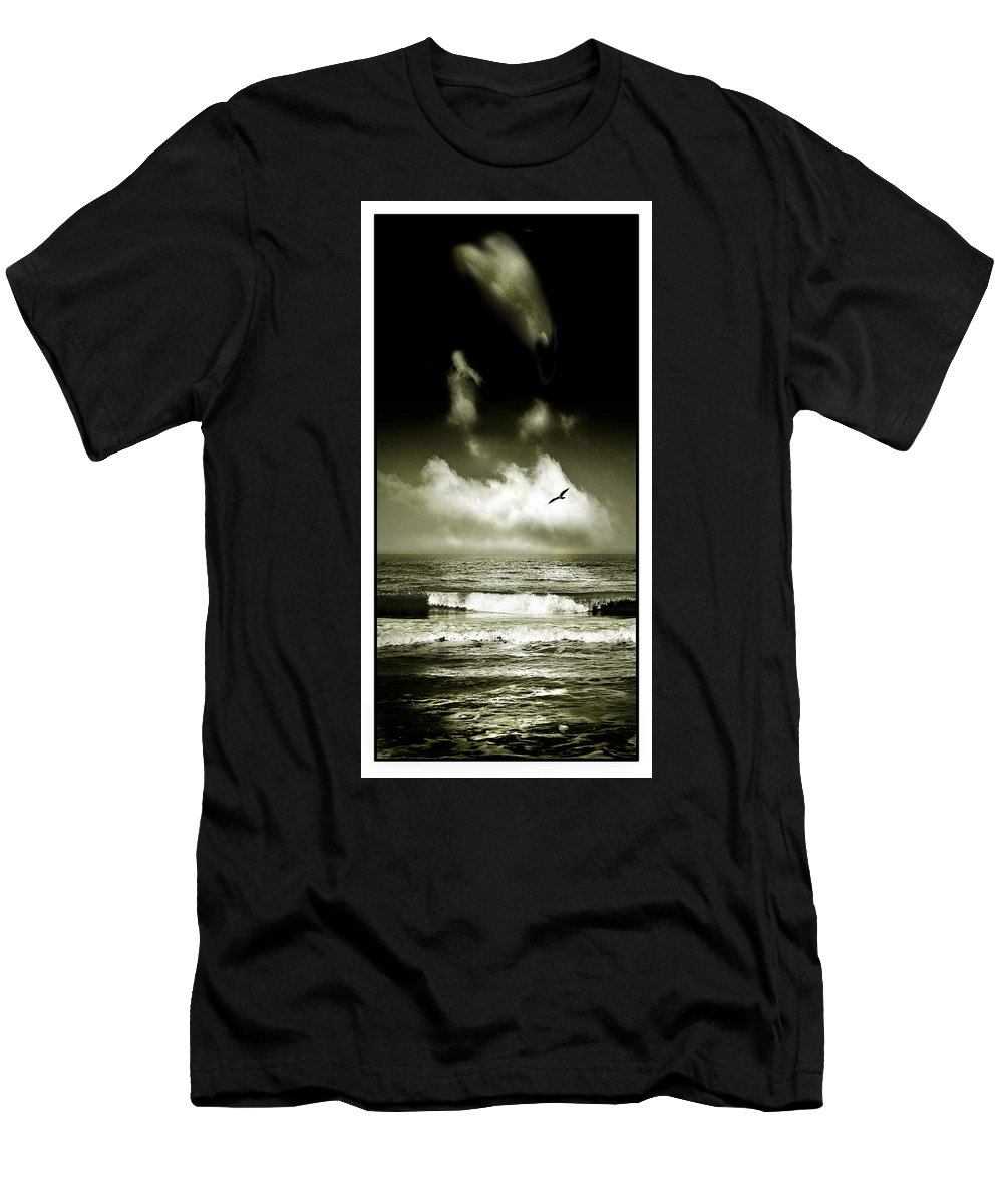 Waves Men's T-Shirt (Athletic Fit) featuring the photograph Surf And Sky At Rhos On Sea North Wales by Mal Bray