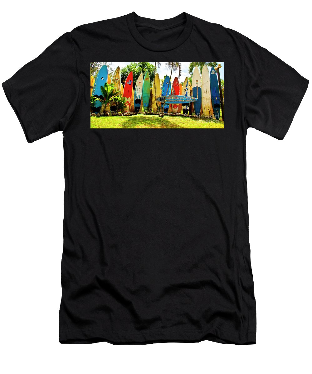 Surfboard Men's T-Shirt (Athletic Fit) featuring the photograph Surfboard Fence II-the Amazing Race by Jim Cazel