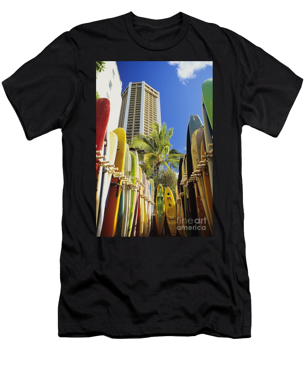 Afternoon Men's T-Shirt (Athletic Fit) featuring the photograph Surfboard Stack by Peter French - Printscapes