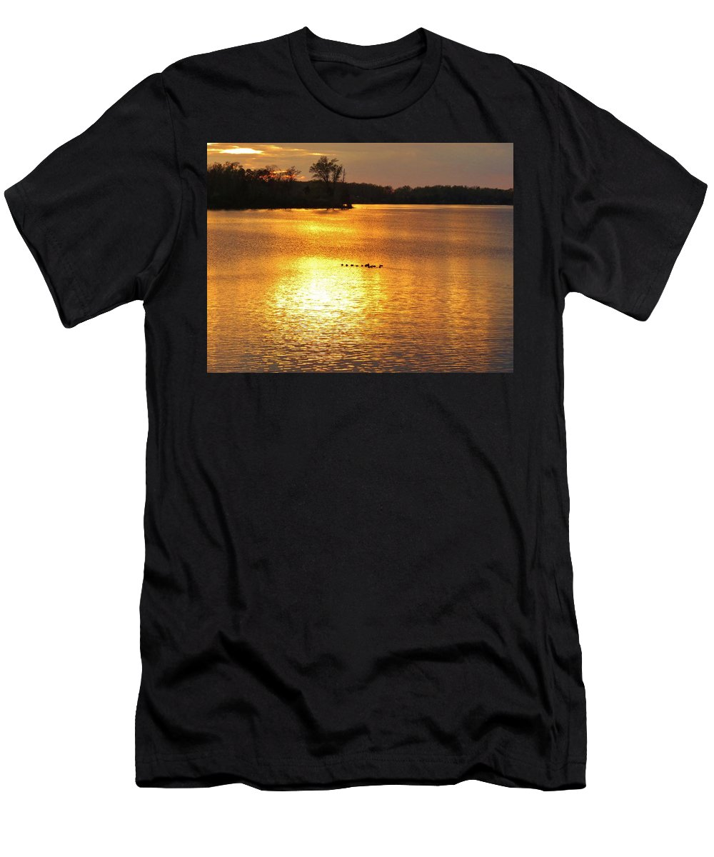 Sunset Men's T-Shirt (Athletic Fit) featuring the photograph Surise-sunset 4 by Ron Emery