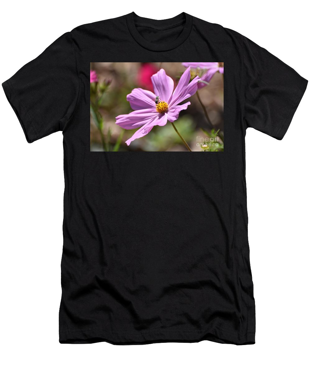Flower Beauty Garden Purple Spring Nature Men's T-Shirt (Athletic Fit) featuring the photograph Surprise Inside by Dale Adams
