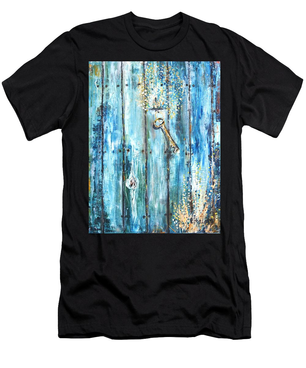 Fence Men's T-Shirt (Athletic Fit) featuring the painting Surviving Time by Evelina Popilian