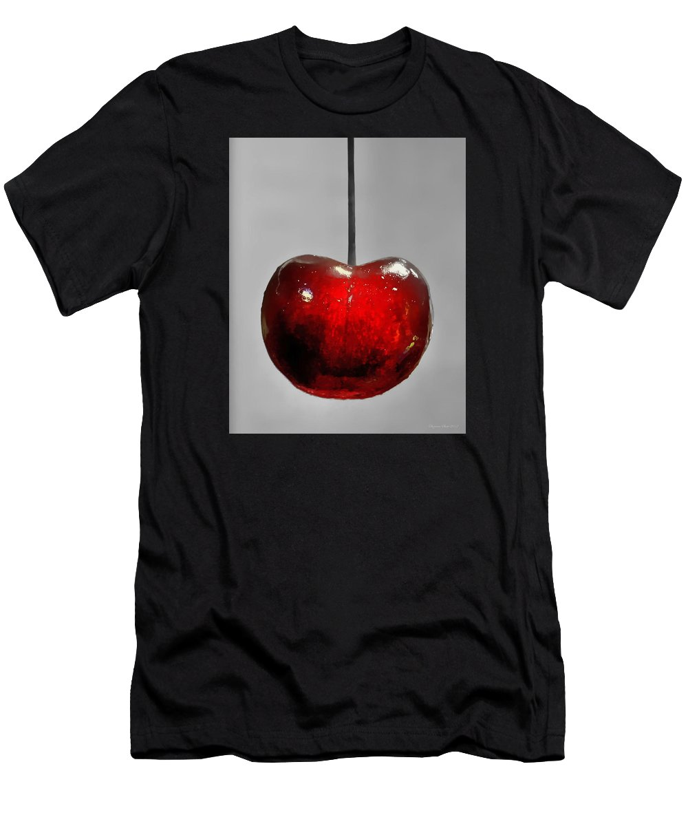 Cherry Men's T-Shirt (Athletic Fit) featuring the photograph Suspended Cherry by Suzanne Stout