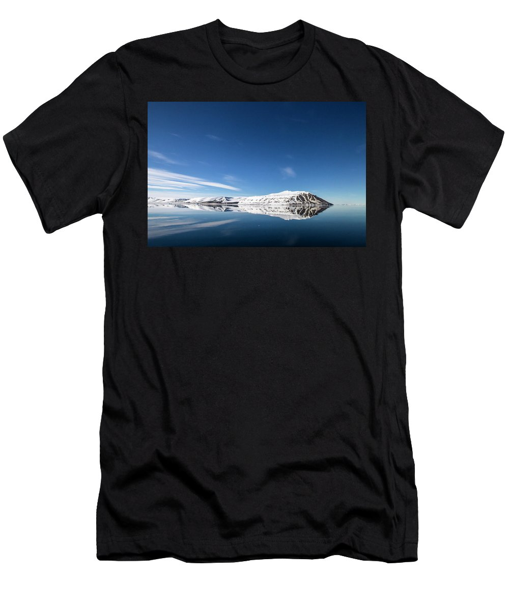 Svalbard Men's T-Shirt (Athletic Fit) featuring the photograph Svalbard Reflection 1 by Russell Millner
