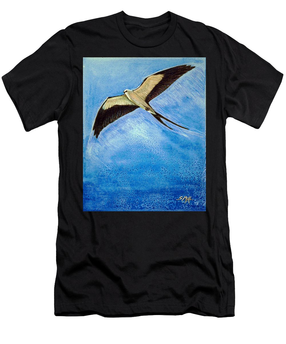 Wildlife Men's T-Shirt (Athletic Fit) featuring the mixed media Swallowtail Sighting by Suzanne McKee
