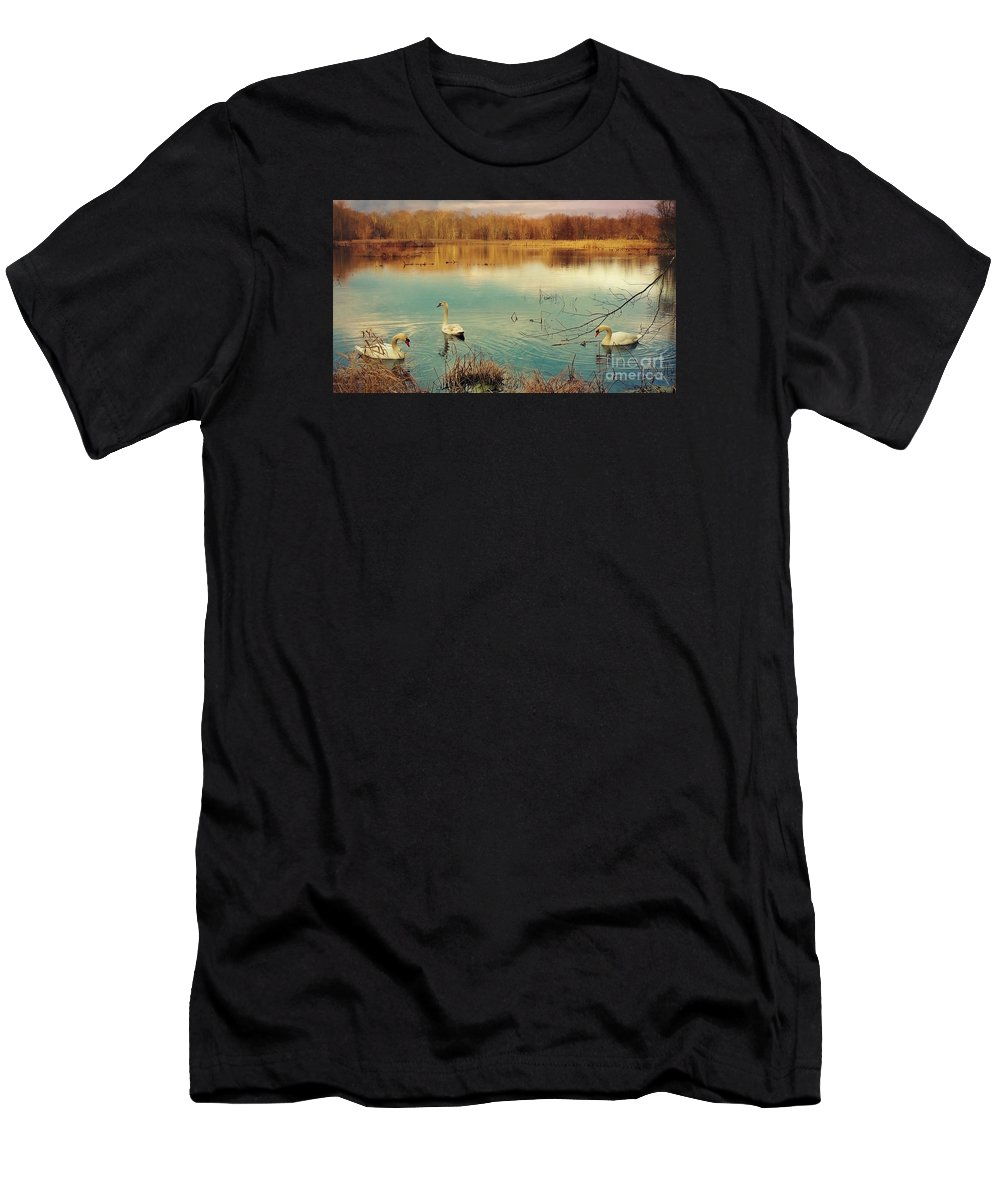 Swan Men's T-Shirt (Athletic Fit) featuring the photograph Swan Lake by Beth Ferris Sale