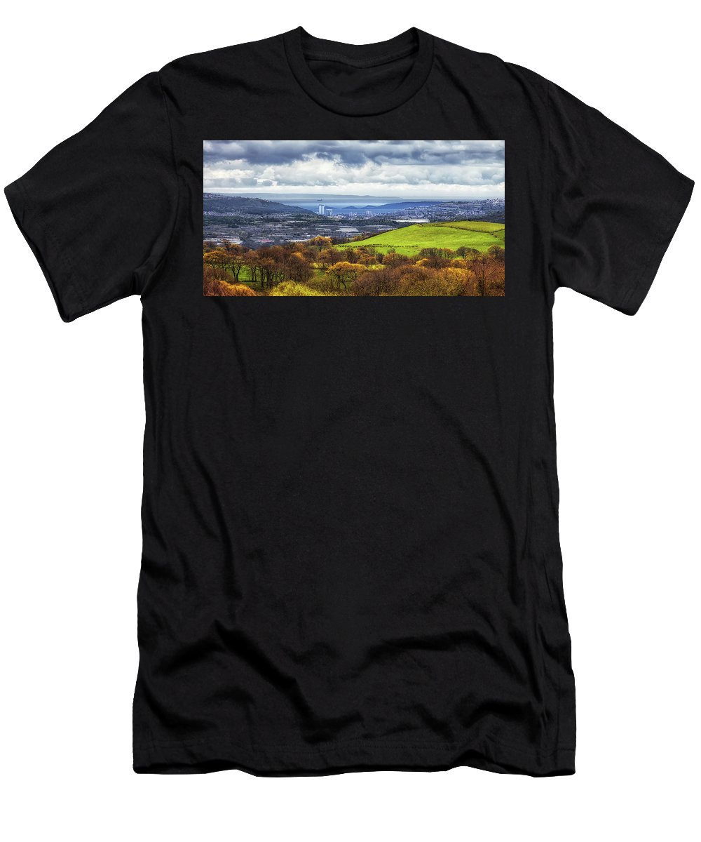 Swansea Men's T-Shirt (Athletic Fit) featuring the photograph Swansea And Mumbles by Leighton Collins