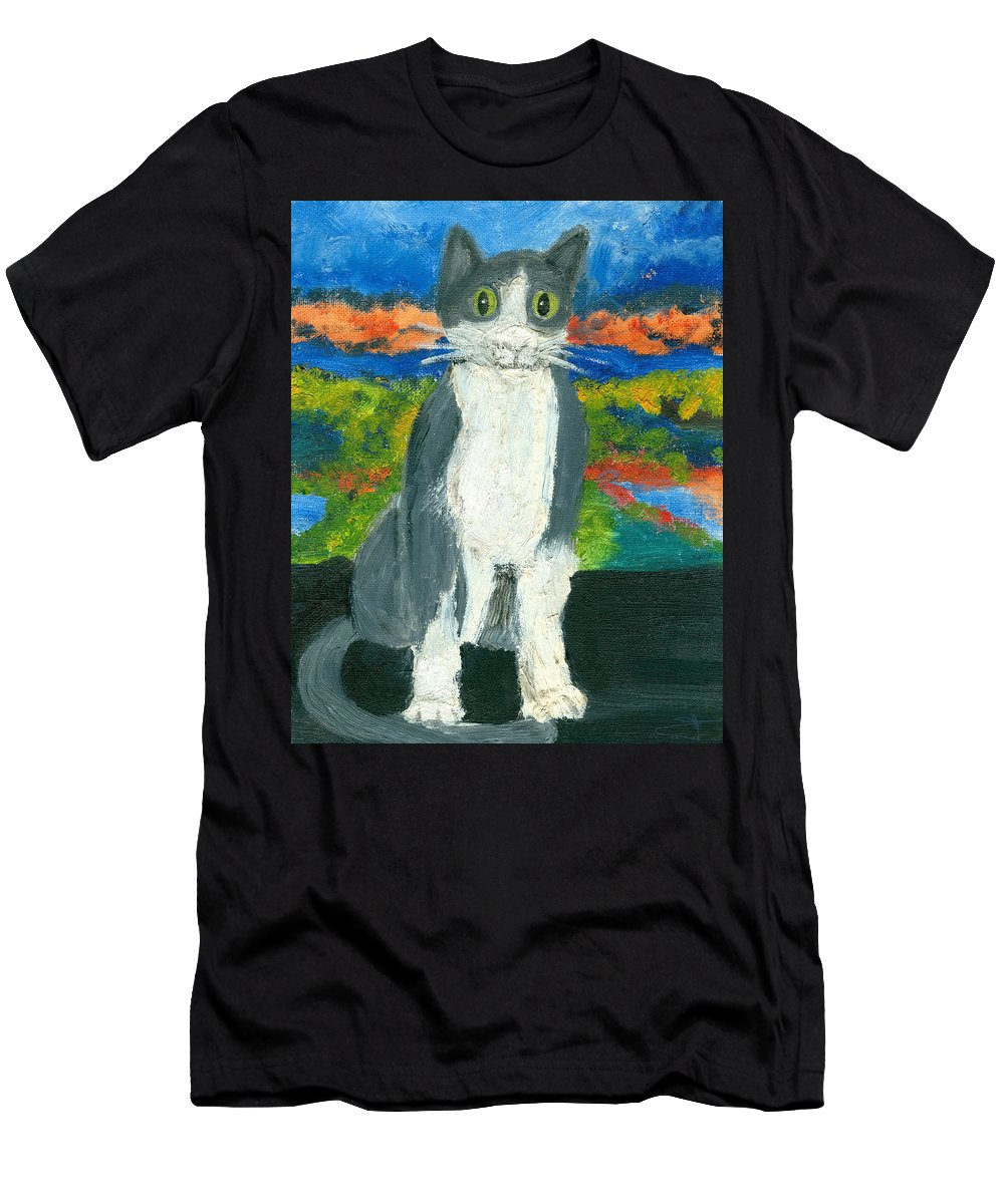 Cat Men's T-Shirt (Athletic Fit) featuring the painting Sweet Flojo Kitty by Jorge Delara