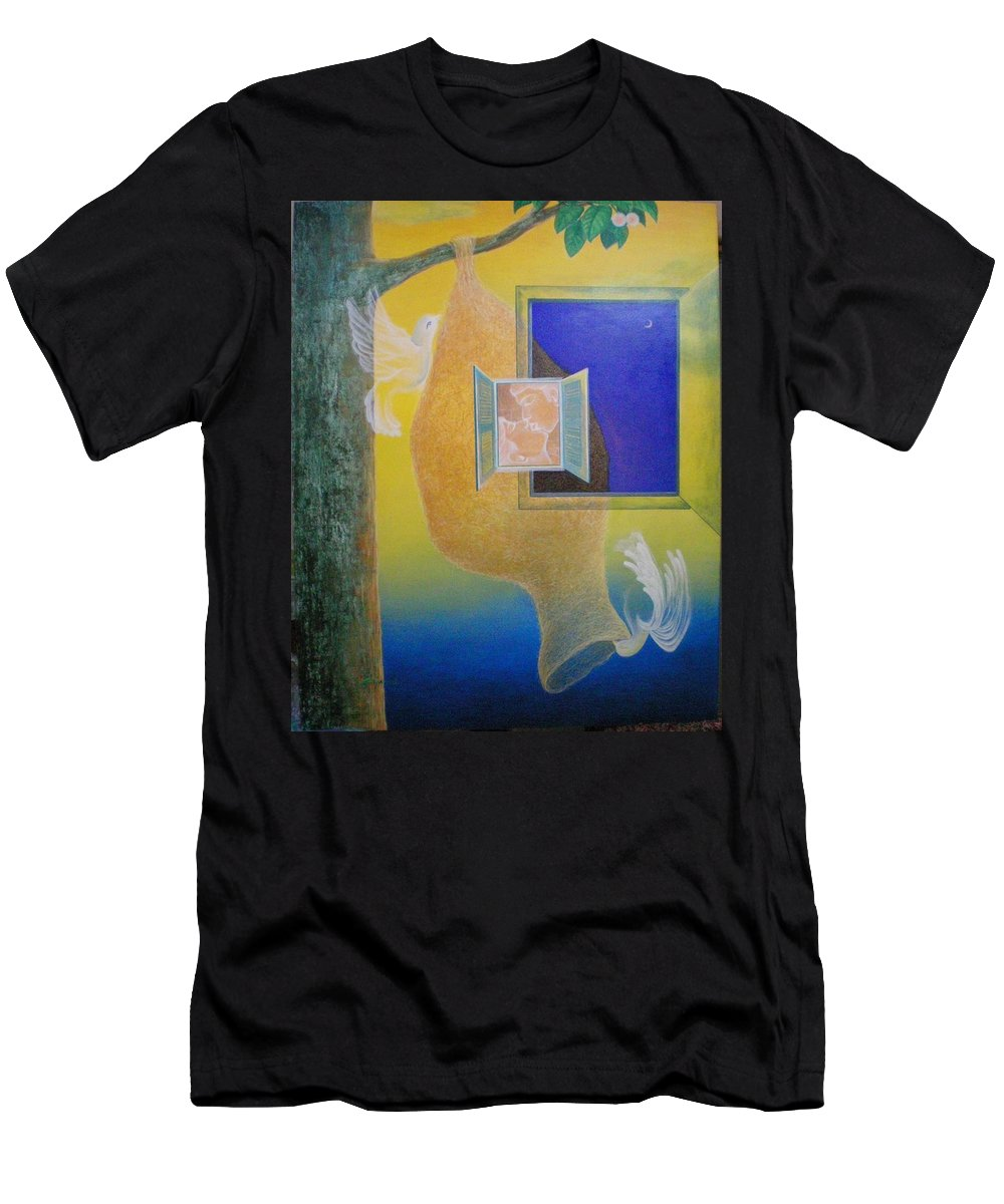 Romantic Men's T-Shirt (Athletic Fit) featuring the painting Sweet Home by Raju Bose