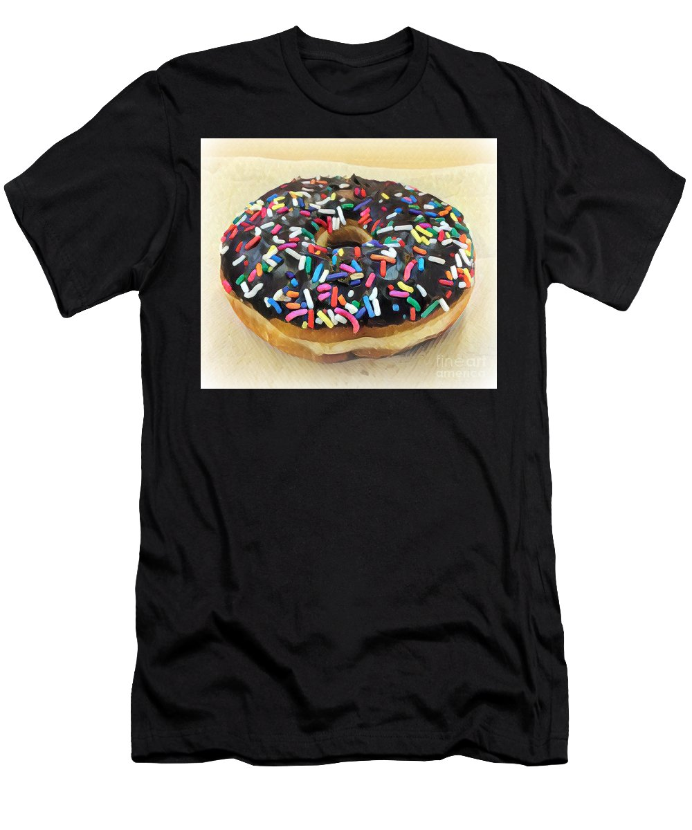 Sweet Indulgence - Donut Men's T-Shirt (Athletic Fit) featuring the photograph Sweet Indulgence - Donut by Miriam Danar