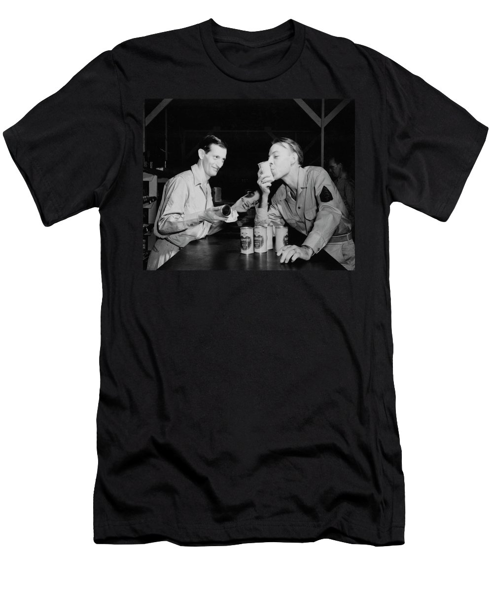 Beer Men's T-Shirt (Athletic Fit) featuring the photograph Sweet Overseas Beer Ration by Daniel Hagerman