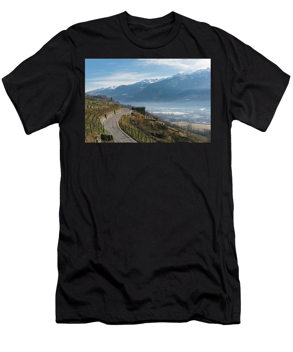 Protection Men's T-Shirt (Athletic Fit) featuring the photograph Swerving Road In Valtellina, Italy by Alexandre Rotenberg