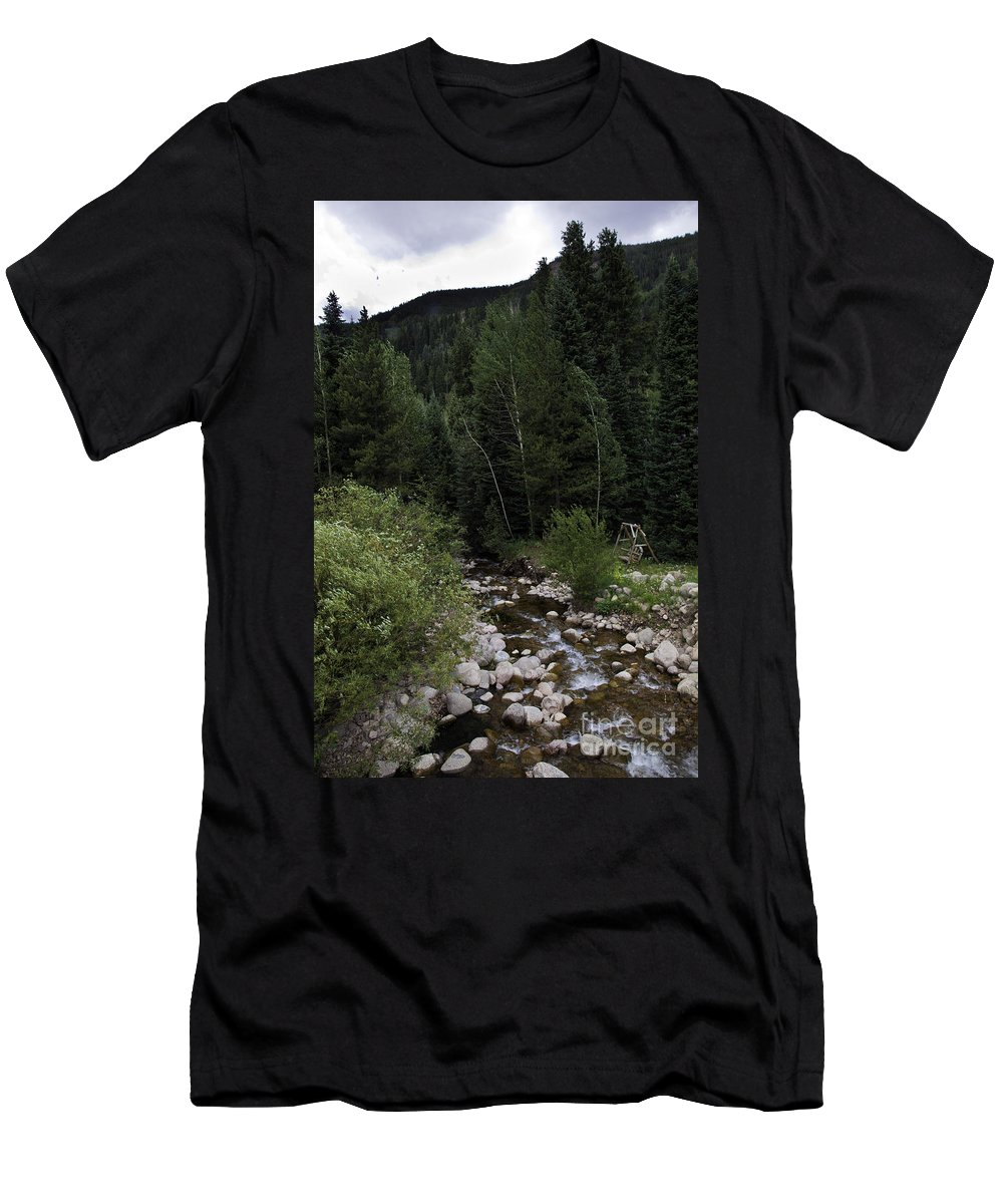 Stream Men's T-Shirt (Athletic Fit) featuring the photograph Swing By The Vail Stream by Madeline Ellis