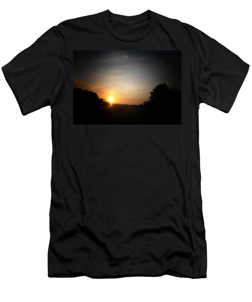 Swirling Sunrise Men's T-Shirt (Athletic Fit) featuring the photograph Swirling Sunrise by Maria Urso