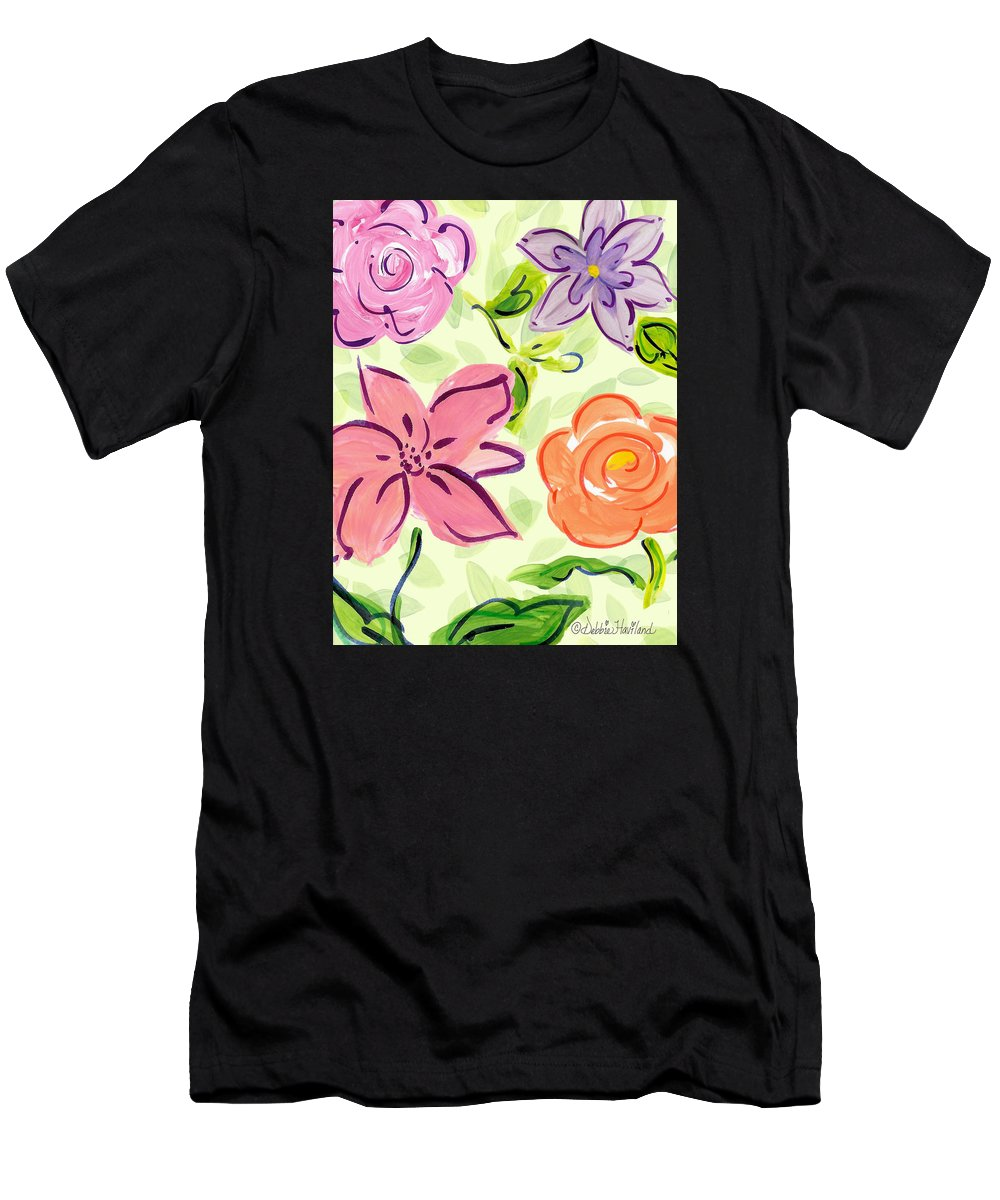 Floralprint Men's T-Shirt (Athletic Fit) featuring the painting Swirly Flowers by Debbie Haviland
