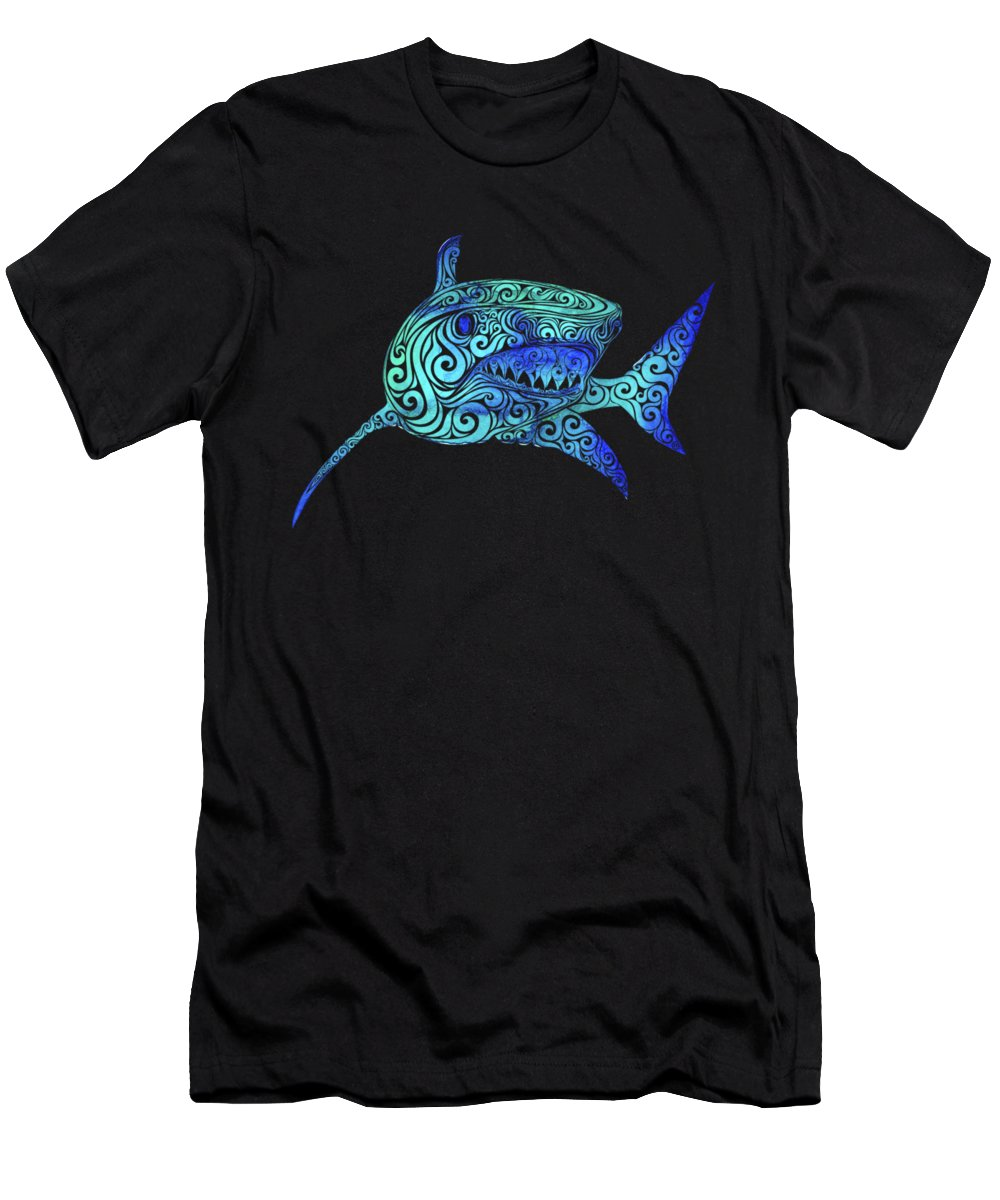 Swirly Men's T-Shirt (Athletic Fit) featuring the mixed media Swirly Shark by Carolina Matthes