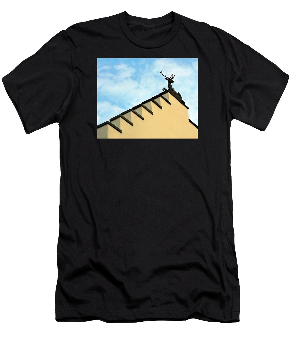 Europe Men's T-Shirt (Athletic Fit) featuring the photograph Swiss Deer On Zurich Rooftop by Ginger Wakem