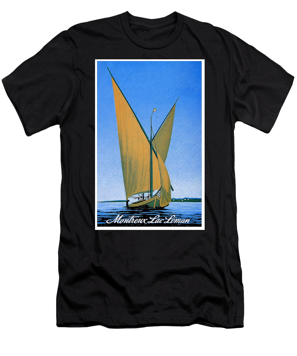 Switzerland Men's T-Shirt (Athletic Fit) featuring the painting Switzerland, Lake Geneva, Montreux, Sailing Boat by Long Shot