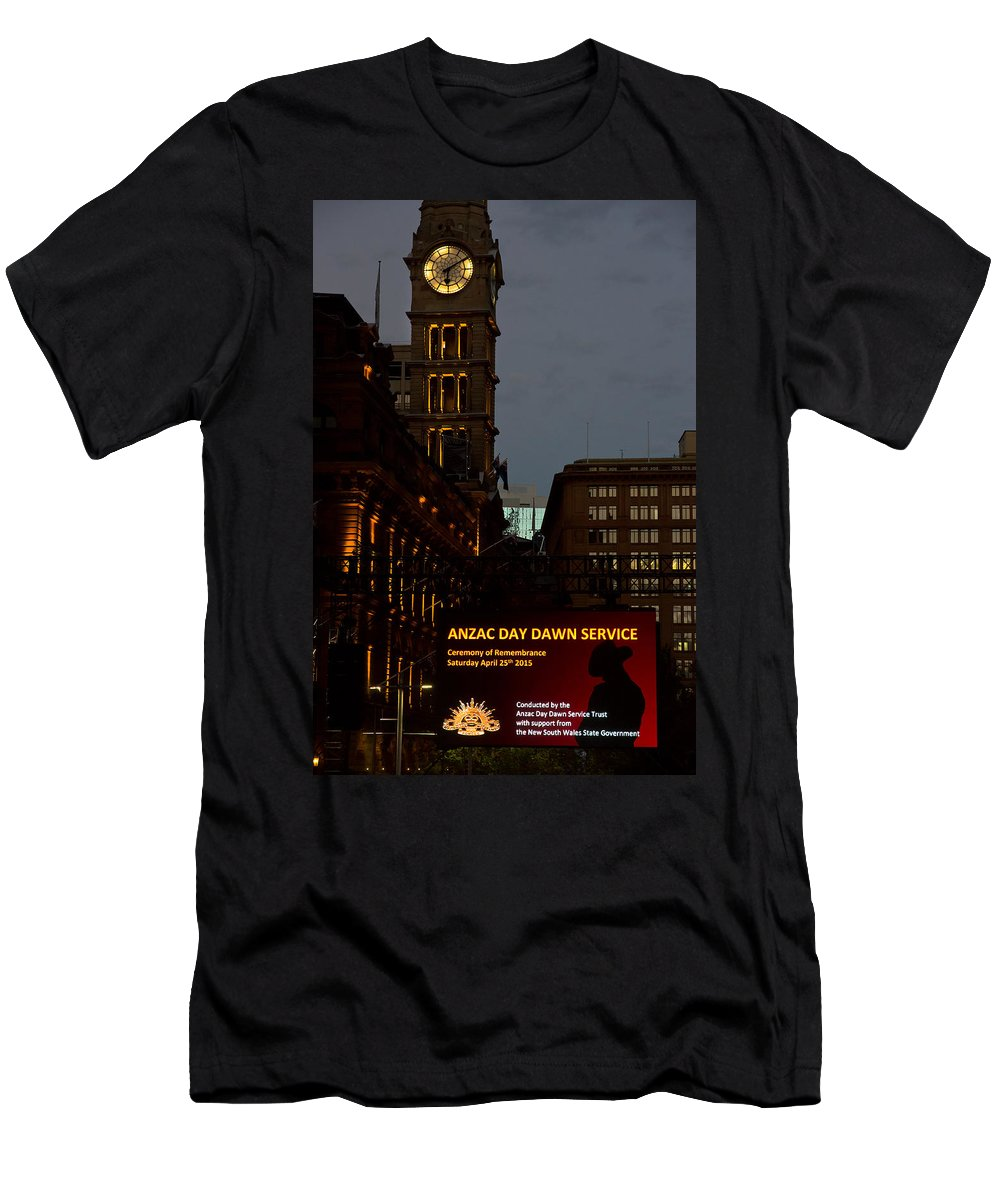 Sydney Men's T-Shirt (Athletic Fit) featuring the photograph Sydney Clock On Anzac Day At Dawn by Miroslava Jurcik