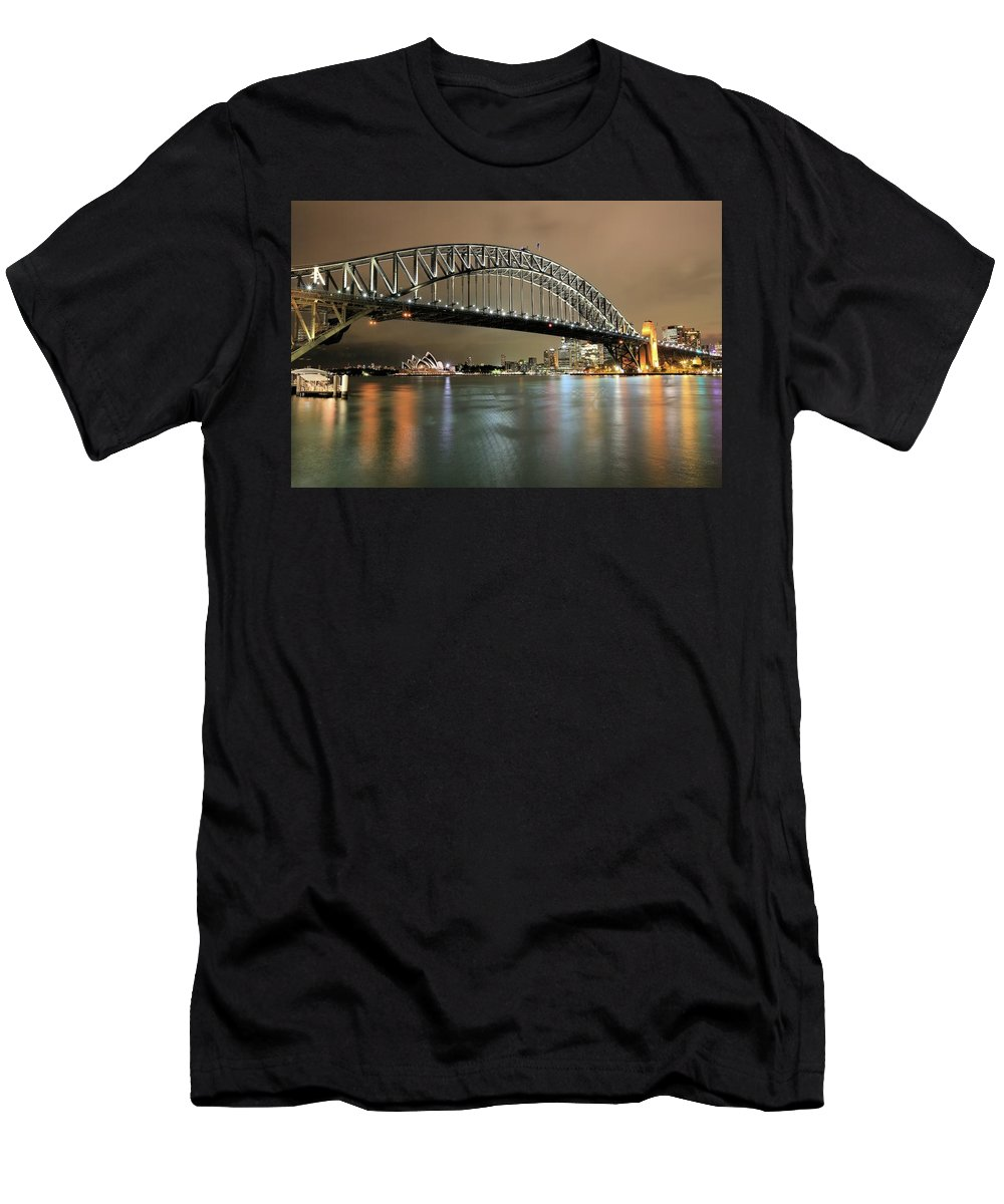 Photosbymch Men's T-Shirt (Athletic Fit) featuring the photograph Sydney Harbour At Night by M C Hood