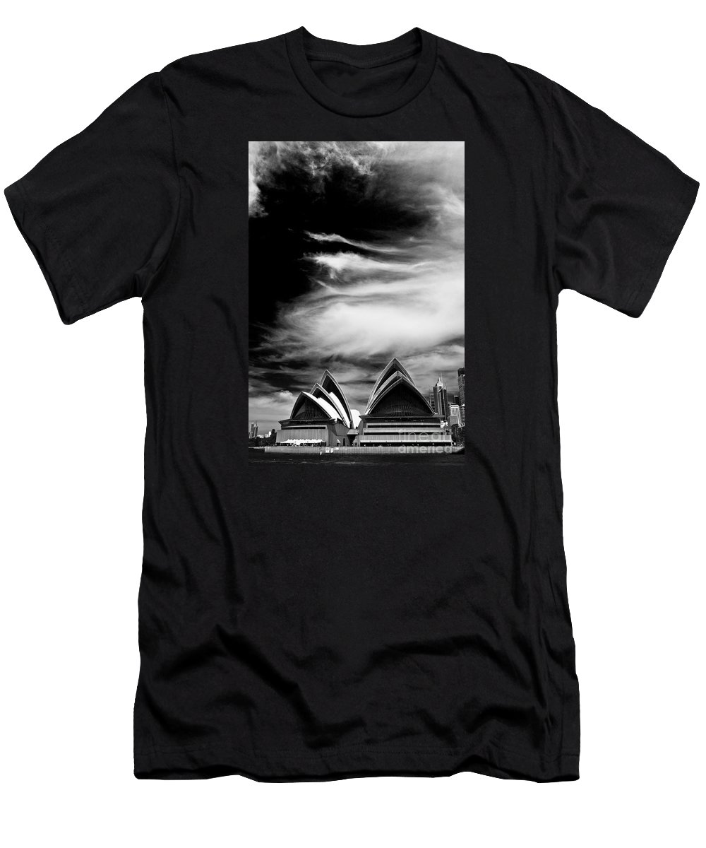 Sydney Opera House Monochrome Men's T-Shirt (Athletic Fit) featuring the photograph Sydney Opera House Portrait by Sheila Smart Fine Art Photography