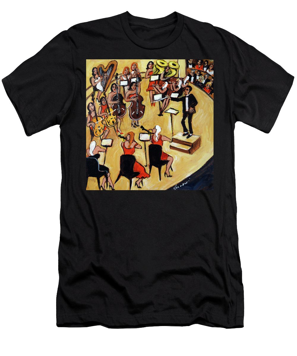 Carnegie Hall Orchestra Men's T-Shirt (Athletic Fit) featuring the painting Symphony by Valerie Vescovi