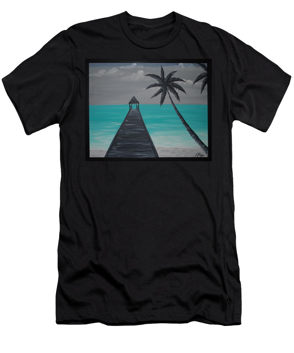 Tahiti Men's T-Shirt (Athletic Fit) featuring the painting Tahitian Blue by Emily Page