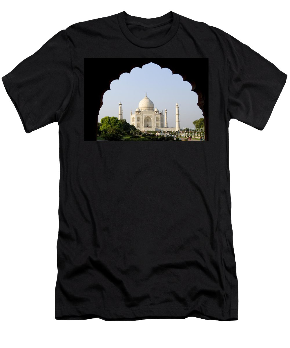 Agra Men's T-Shirt (Athletic Fit) featuring the photograph Taj Mahal At Sunrise by Bill Bachmann - Printscapes