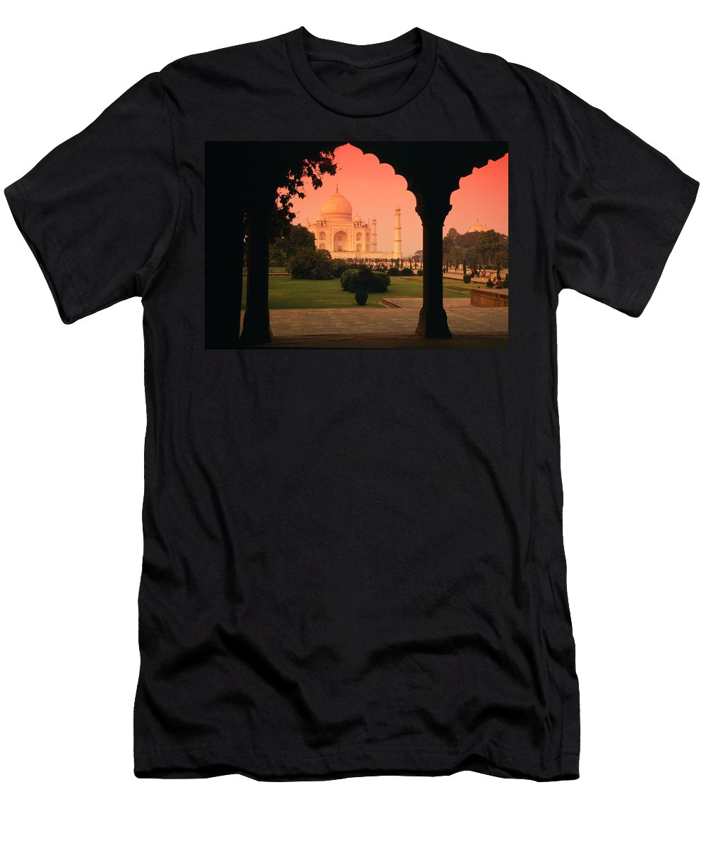 Landscape Men's T-Shirt (Athletic Fit) featuring the pyrography Taj Mahal by Javier Flores