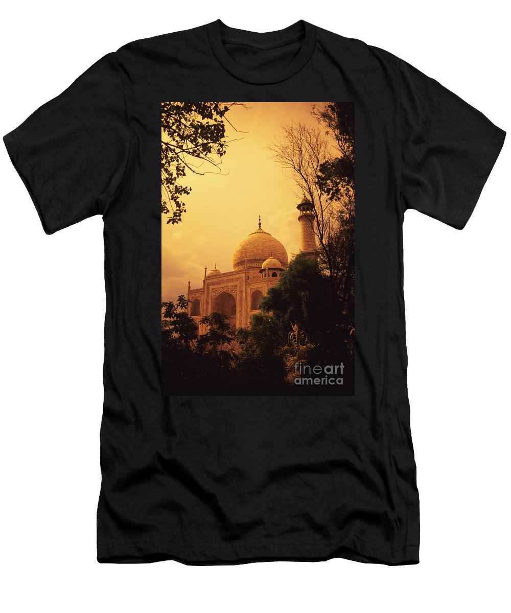 Agra Men's T-Shirt (Athletic Fit) featuring the photograph Taj Mahal Sunset by Kyle Rothenborg - Printscapes