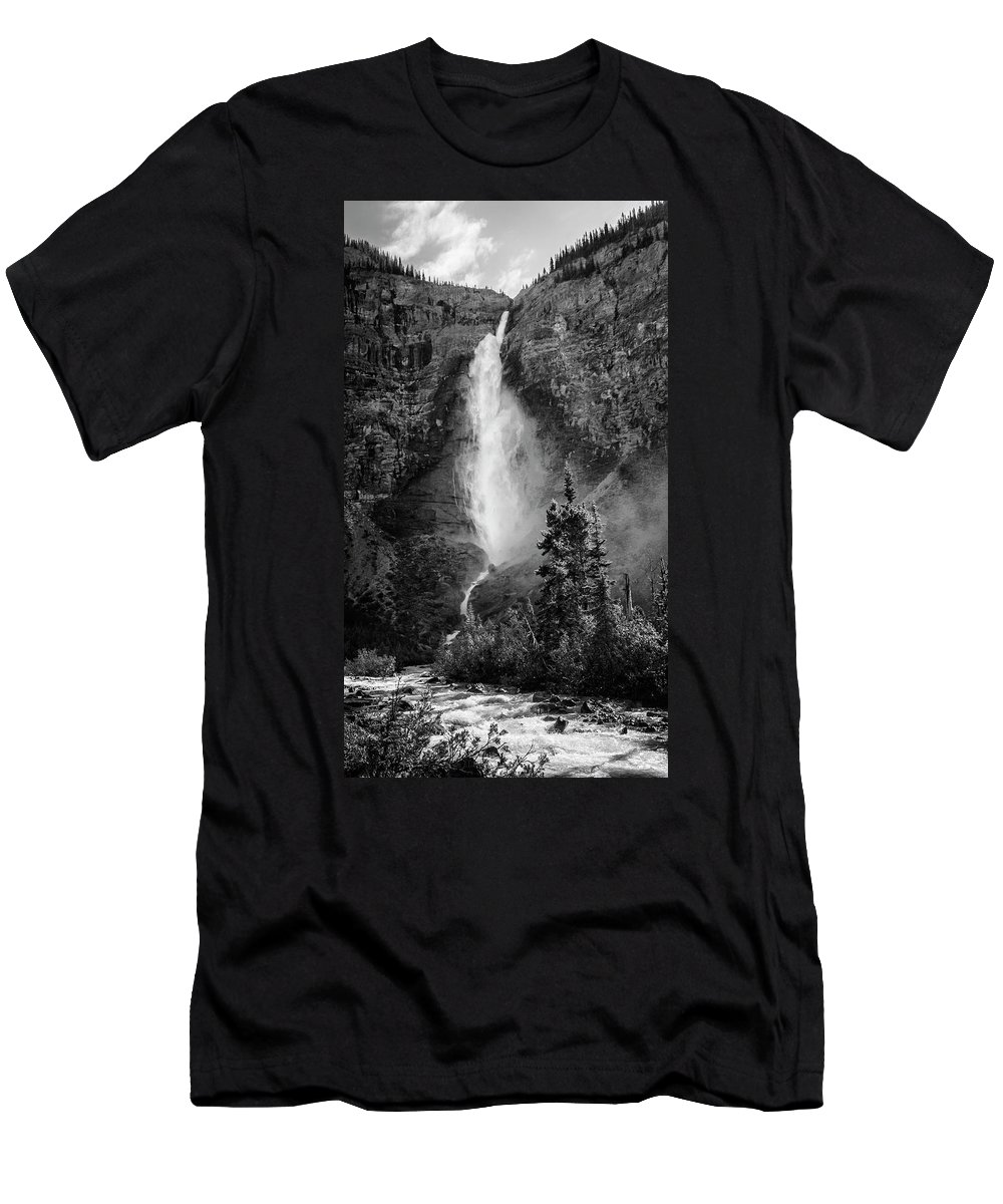 Joan Carroll Men's T-Shirt (Athletic Fit) featuring the photograph Takakkaw Falls British Columbia Bw by Joan Carroll