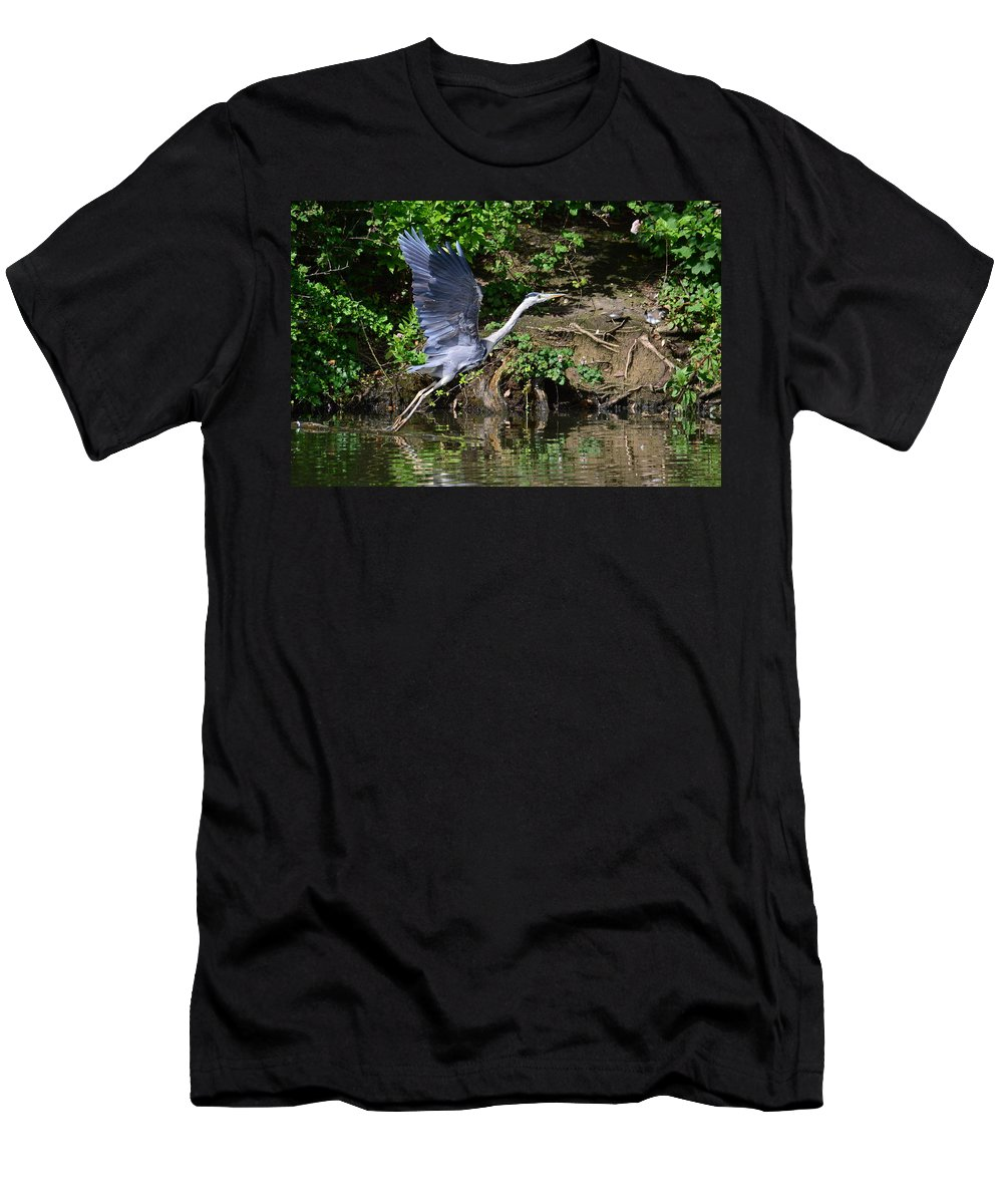 Blue Heron Men's T-Shirt (Athletic Fit) featuring the photograph Take Off by Stephen Jenkins