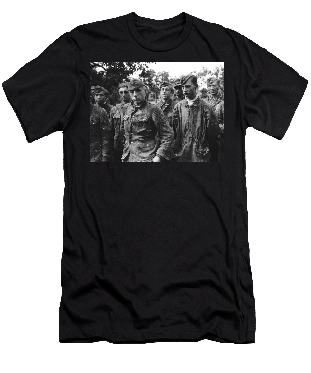 German Boy Soldiers Of The Waffen Ss Men's T-Shirt (Athletic Fit) featuring the painting taken prisoner in Normandy by MotionAge Designs