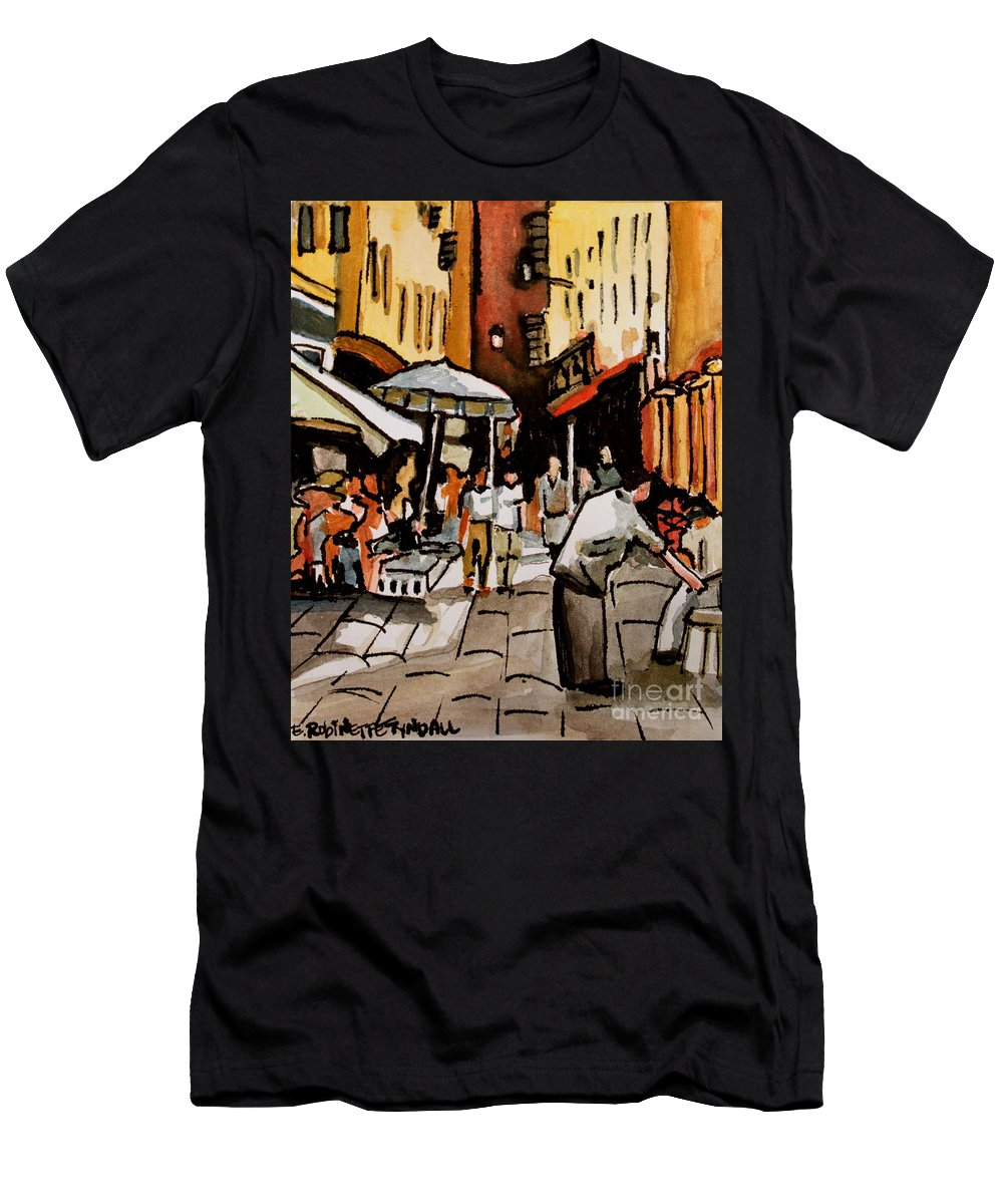 Downtown Men's T-Shirt (Athletic Fit) featuring the painting Taking A Stroll Through Downtown by Elizabeth Robinette Tyndall